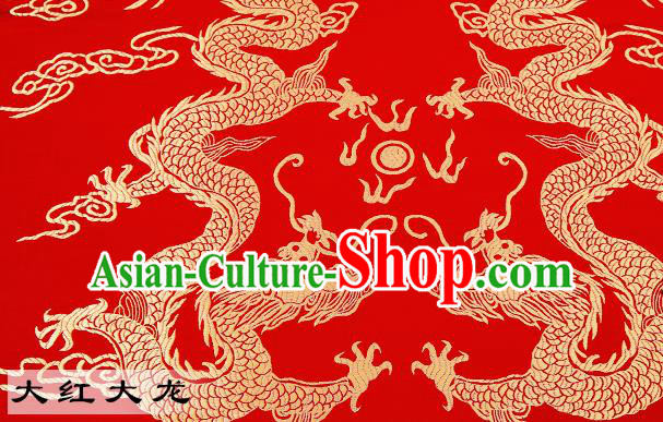 Chinese Traditional Satin Classical Dragons Pattern Design Red Brocade Fabric Tang Suit Material Drapery