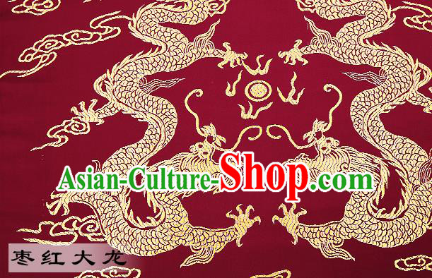 Chinese Traditional Satin Classical Dragons Pattern Design Wine Red Brocade Fabric Tang Suit Material Drapery