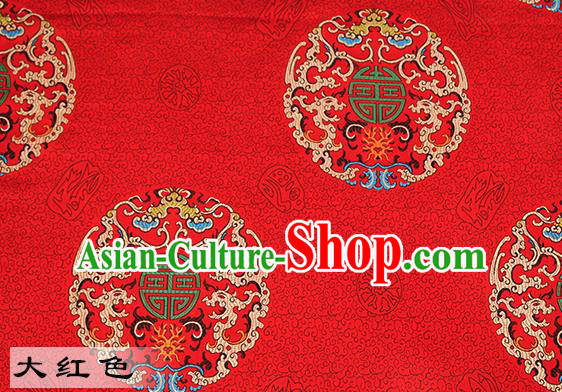 Chinese Traditional Red Satin Classical Dragons Pattern Design Brocade Fabric Tang Suit Material Drapery