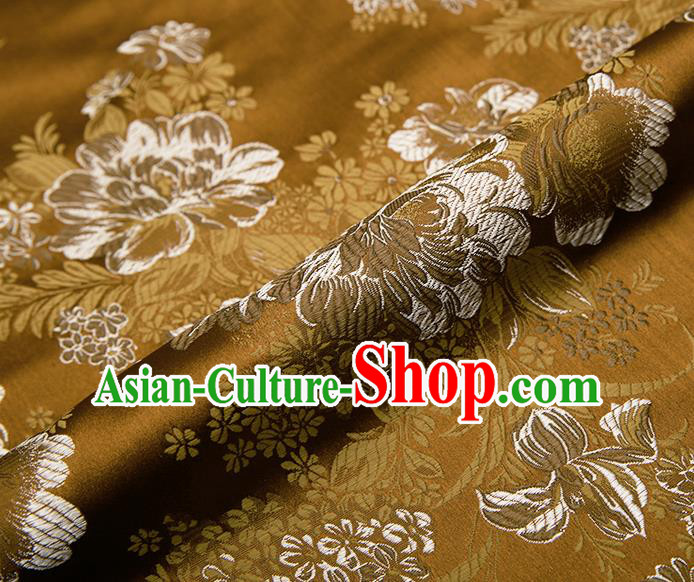 Chinese Traditional Golden Satin Classical Peony Pattern Design Brocade Fabric Tang Suit Material Drapery