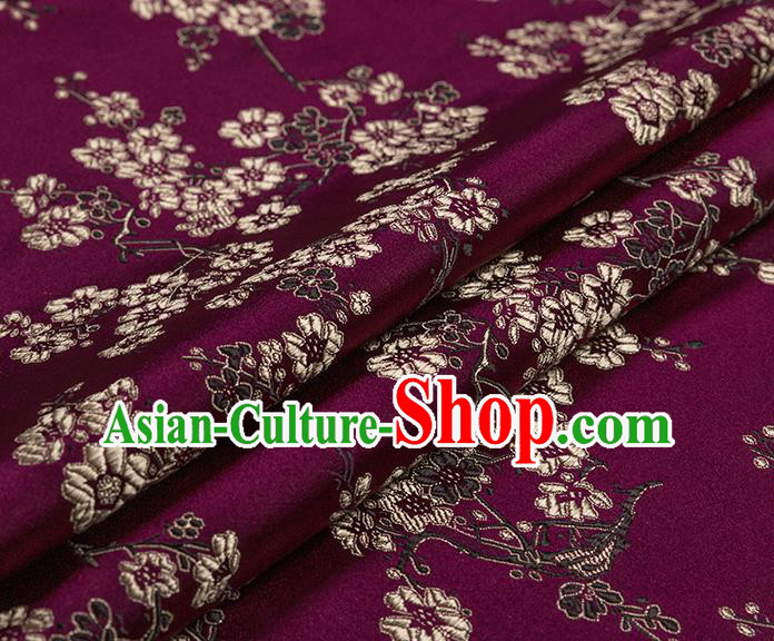 Chinese Traditional Purple Satin Classical Plum Blossom Pattern Design Brocade Fabric Tang Suit Material Drapery