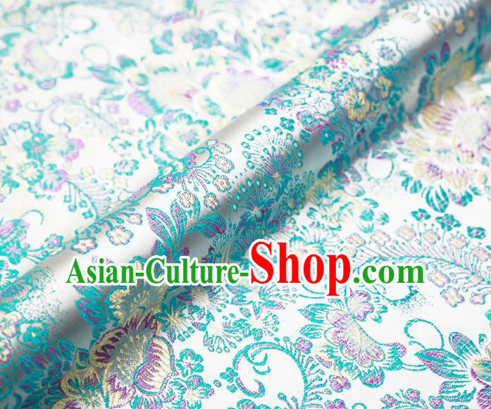 Chinese Traditional White Satin Classical Peony Pattern Design Brocade Fabric Tang Suit Material Drapery