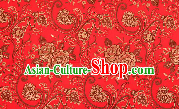 Chinese Traditional Red Satin Classical Peony Pattern Design Brocade Fabric Tang Suit Material Drapery