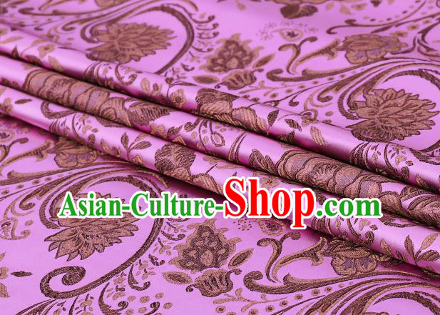 Chinese Traditional Pink Satin Classical Peony Pattern Design Brocade Fabric Tang Suit Material Drapery
