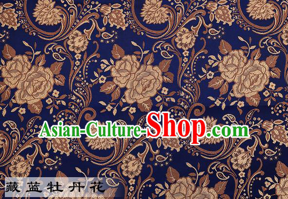 Chinese Traditional Navy Satin Classical Peony Pattern Design Brocade Fabric Tang Suit Material Drapery