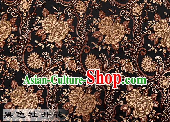 Chinese Traditional Black Satin Classical Peony Pattern Design Brocade Fabric Tang Suit Material Drapery