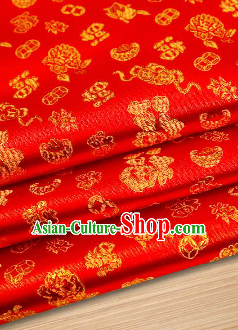 Chinese Traditional Satin Classical Pattern Design Red Brocade Fabric Tang Suit Material Drapery