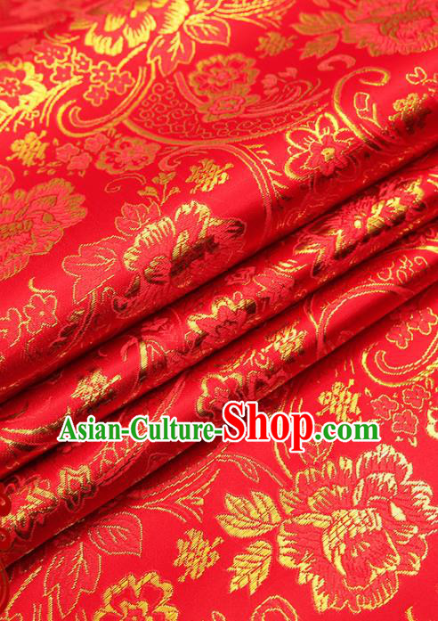 Chinese Traditional Satin Classical Golden Peony Pattern Design Red Brocade Fabric Tang Suit Material Drapery