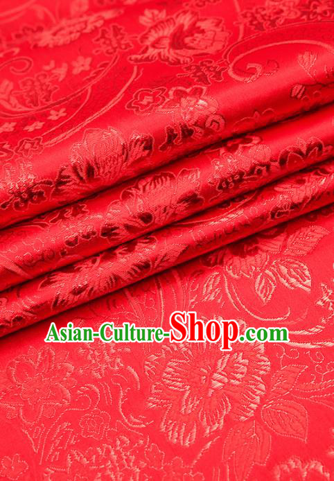 Chinese Traditional Satin Classical Peony Pattern Design Red Brocade Fabric Tang Suit Material Drapery