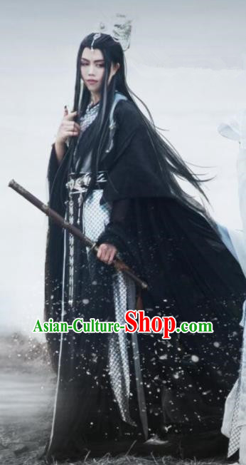 Traditional Chinese Cosplay Dragon Prince Hanfu Clothing Ancient Swordsman Embroidered Costumes and Headpiece Complete Set