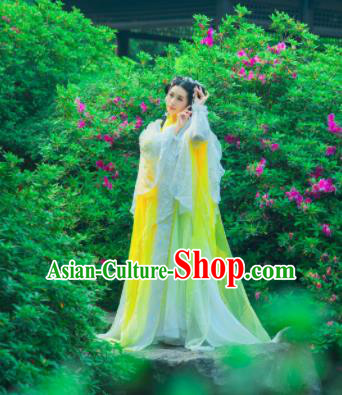 Traditional Chinese Cosplay Princess Yellow Hanfu Dress Ancient Peri Embroidered Costumes for Women