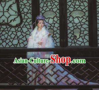 Traditional Chinese Cosplay Moon Goddess Hanfu Dress Ancient Imperial Consort Embroidered Costumes and Headpiece Complete Set
