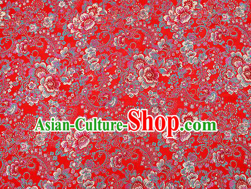 Red Brocade Chinese Traditional Garment Fabric Classical Peony Pattern Design Satin Cushion Material Drapery