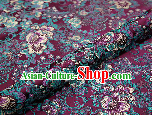 Amaranth Brocade Chinese Traditional Garment Fabric Classical Peony Pattern Design Satin Cushion Material Drapery