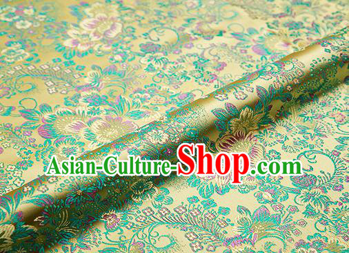 Light Golden Brocade Chinese Traditional Garment Fabric Classical Peony Pattern Design Satin Cushion Material Drapery