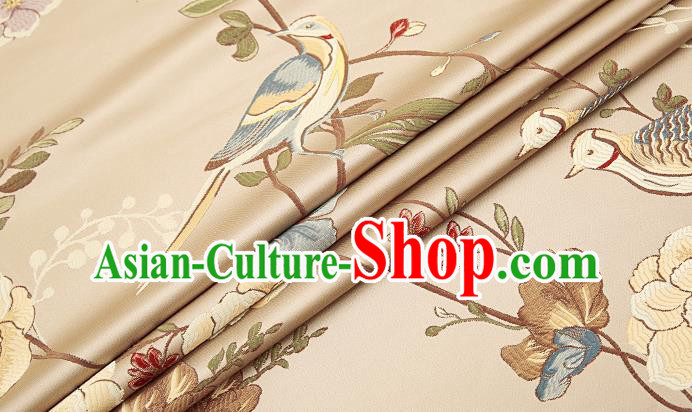 Embroidery Birds Brocade Chinese Traditional Garment Fabric Satin Cushion Material Drapery