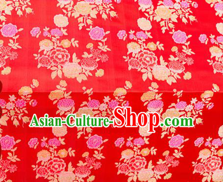 Top Grade Classical Peony Pattern Red Brocade Chinese Traditional Garment Fabric Qipao Dress Satin Material Drapery