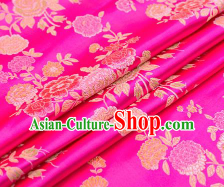Top Grade Classical Peony Pattern Rosy Brocade Chinese Traditional Garment Fabric Qipao Dress Satin Material Drapery