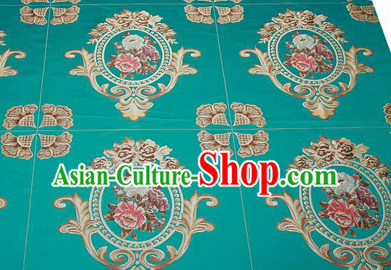 Top Grade Classical Flocked Peony Pattern Green Brocade Chinese Traditional Garment Fabric Cushion Satin Material Drapery