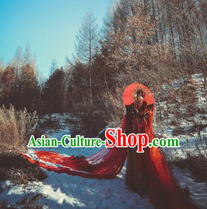 Chinese Ancient Cosplay Wedding Costumes Traditional Han Dynasty Prince Red Clothing and Headpiece for Men