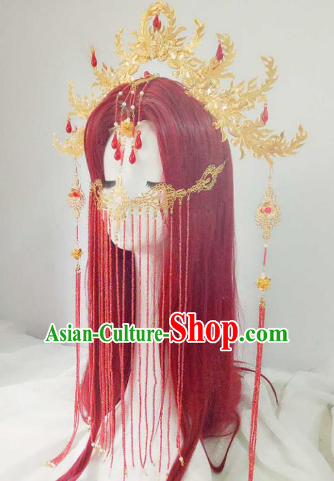 Chinese Ancient Handmade Hair Accessories Traditional Hanfu Golden Phoenix Coronet Hairpins Headwear for Women