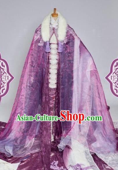 Chinese Ancient Swordswoman Purple Costumes Traditional Cosplay Peri Princess Embroidered Hanfu Dress for Women