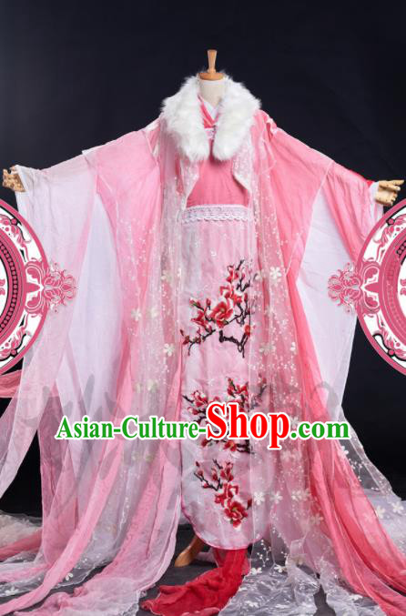 Chinese Ancient Cosplay Peri Pink Costumes Traditional Princess Embroidered Hanfu Dress for Women