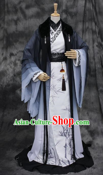 Chinese Ancient Cosplay Swordsman Printing Bamboo Costumes Traditional Prince Hanfu Clothing for Men