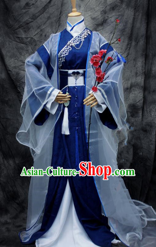 Chinese Ancient Cosplay Swordsman Blue Costumes Traditional Prince Hanfu Clothing for Men