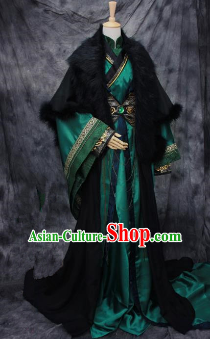 Chinese Ancient Cosplay Swordsman Green Costumes Traditional Nobility Childe Hanfu Clothing for Men