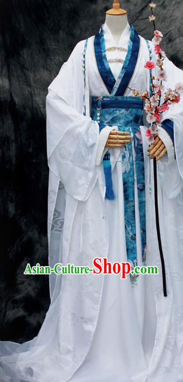 Chinese Ancient Swordsman White Costumes Traditional Cosplay Nobility Childe Hanfu Clothing for Men