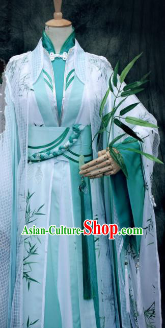 Asian Chinese Ancient Prince Green Costumes Traditional Cosplay Nobility Childe Hanfu Clothing for Men