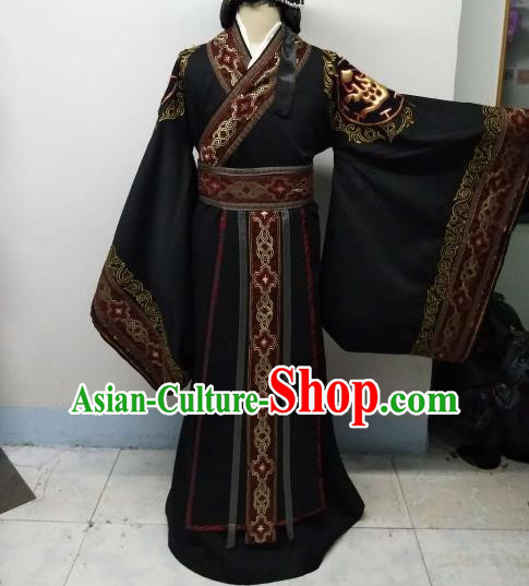 Chinese Ancient Imperial Emperor Costumes Traditional Qin Dynasty King Embroidered Hanfu Clothing for Men
