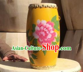 Chinese Traditional Handmade Drums Folk Dance Waist Drum Printing Peony Drums