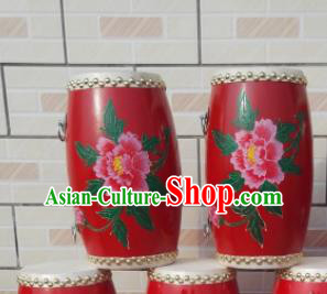 Chinese Traditional Handmade Drums Folk Dance Red Waist Drum Printing Peony Cowhide Drums