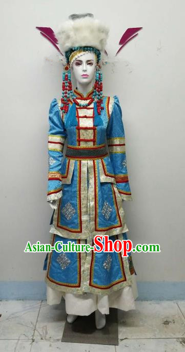 Chinese Ethnic Costumes Traditional Mongolian Nationality Embroidered Blue Dress and Hat for Women