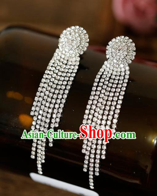 Top Grade Handmade Crystal Tassel Earrings Bride Jewelry Accessories for Women