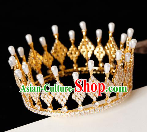 Top Grade Handmade Bride Golden Crystal Pearls Royal Crown Hair Accessories for Women