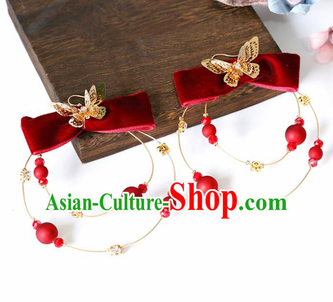 Top Grade Handmade Red Bowknot Earrings Bride Jewelry Accessories for Women
