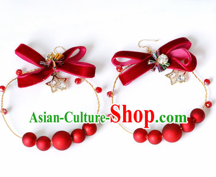 Top Grade Handmade Red Beads Bowknot Earrings Bride Jewelry Accessories for Women