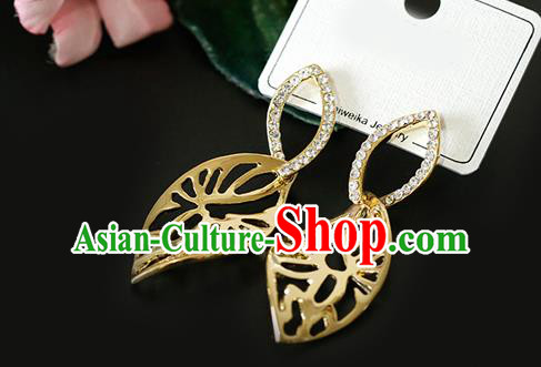 Top Grade Handmade Golden Leaf Earrings Bride Jewelry Accessories for Women