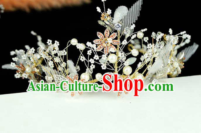 Top Grade Handmade Bride Beads Flowers Royal Crown Baroque Hair Accessories for Women