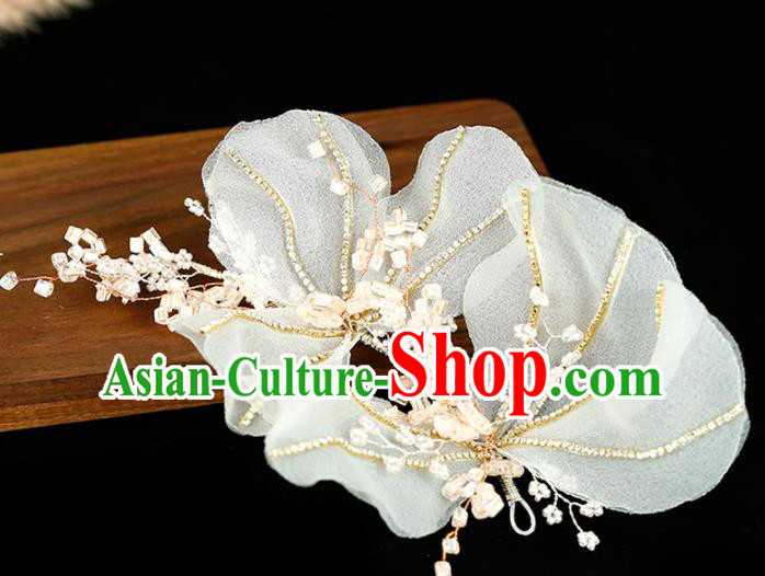 Top Grade Handmade Bride White Veil Flowers Hair Stick Baroque Hair Accessories for Women