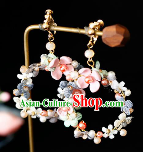 Top Grade Handmade Baroque Flowers Earrings Bride Jewelry Accessories for Women