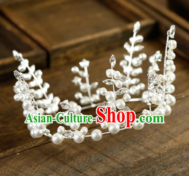 Top Grade Handmade Bride Pearls Royal Crown Baroque Hair Accessories for Women