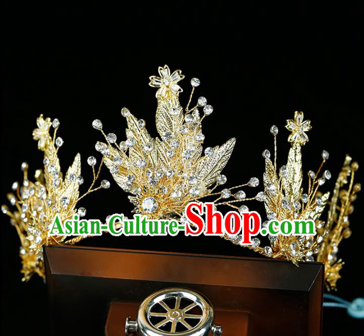 Top Grade Handmade Bride Golden Leaf Royal Crown Baroque Princess Hair Accessories for Women
