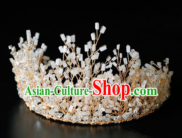 Top Grade Handmade Bride Beads Royal Crown Baroque Princess Hair Accessories for Women