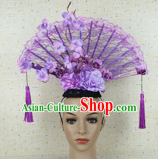 Top Grade Chinese Handmade Lace Headdress Traditional Purple Flowers Hair Accessories for Women