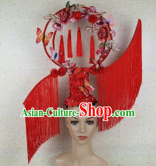 Top Grade Chinese Handmade Lace Headdress Traditional Red Tassel Hair Accessories for Women