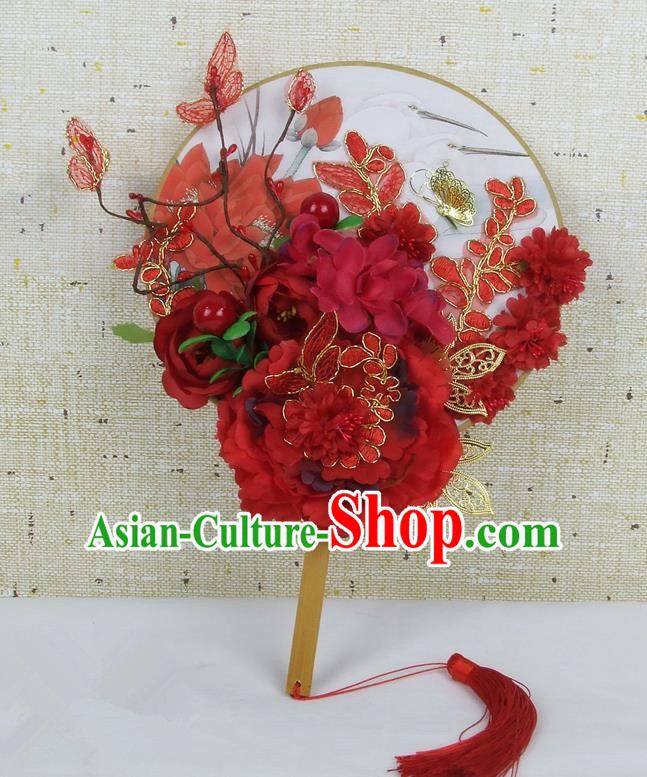 Chinese Traditional Wedding Red Peony Silk Round Fans Ancient Bride Handmade Palace Fans for Women